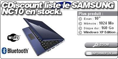 Cdiscount liste le Samsung NC10 en blanc, bleu et noir.