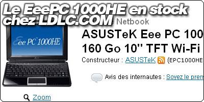 Le EeePC 1000HE en stock chez LDLC.