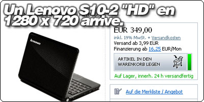 Un Lenovo S10-2 HD en 1280 x 720 arrive.