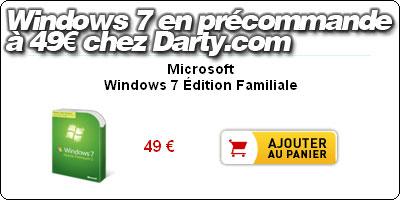 Darty remet en vente des Licences de Windows 7 à 49€ en quantité limitée.