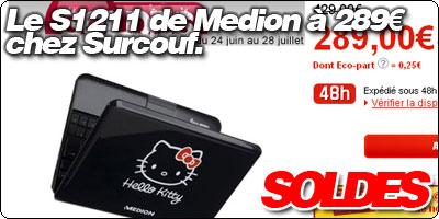 Le Medion S1211 Hello Kitty à 289€ chez Surcouf.