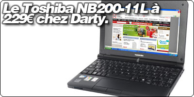 Le Toshiba NB200-11L à 229€ chez Darty.