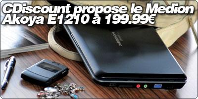 Cdiscount propose le Medion Akoya E1210 noir à 199.99€