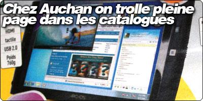 Chez Auchan on trolle pleine page dans les catalogues