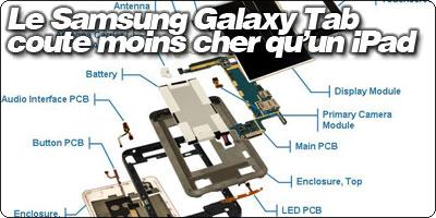 Le Samsung Galaxy Tab coute moins à fabriquer cher qu'un iPad.