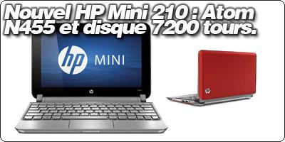 Le ouvel HP Mini 210 est disponible : Atom N455 et disque 7200 tours à partir de 339€