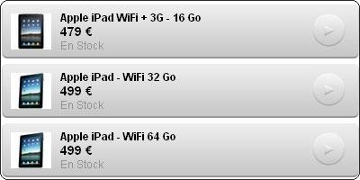 Chez Pixmania l'iPad Wifi 64Go est au même prix que la 32Go : 499€