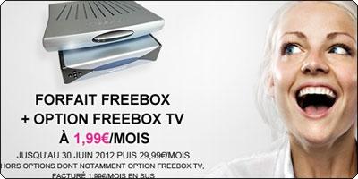 Une ligne ADSL Free + une FreeBox V5 pour 1.99€ par mois pendant 1 an
