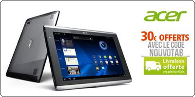 L'Iconia Tab A500 16Go à 359.99€ chez RueDuCommerce
