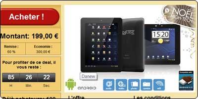 Offre Groupon Danew : Tablette tactile Dslide 970 à 199€