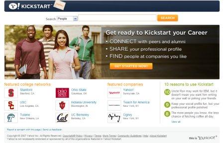 La page d'accueil de Kickstart