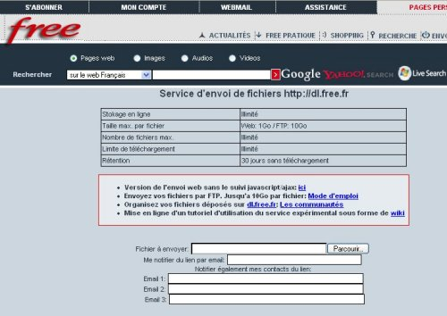 L'interface du service DL de Free