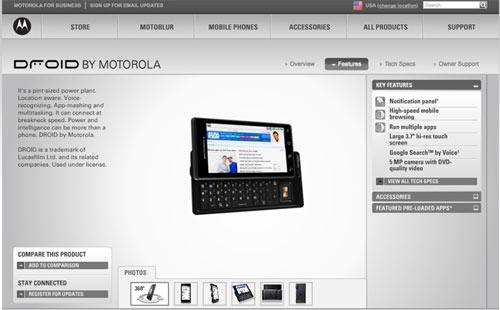 Motorola Droid  avec Android 2.0
