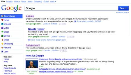 Nouveau design recherche Google