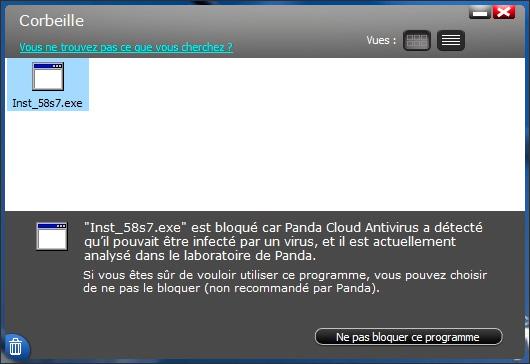 Exemple de détection d'un fichier suspect dans Panda Cloud