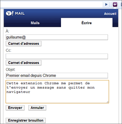 Extension Chrome Yahoo Mail