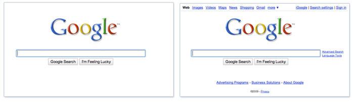 Page d'accueil Google allégée