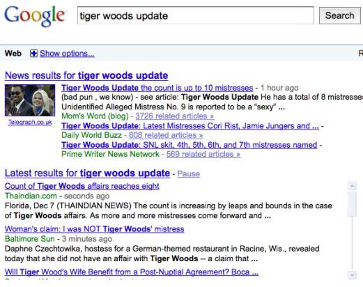Recherche temps réel dans Google