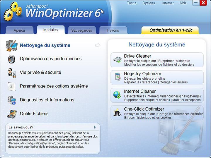Interface Ashampoo WinOptimizer 6