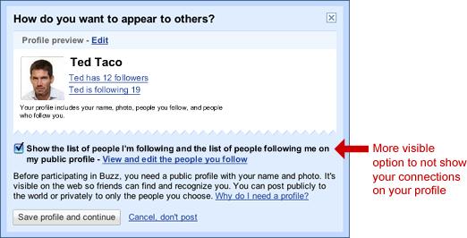 Option profil public Buzz