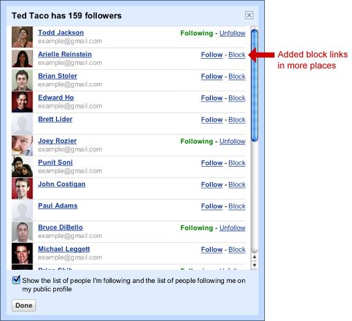 Blocage des followers
