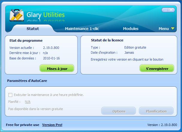 Interface Glary Utilities