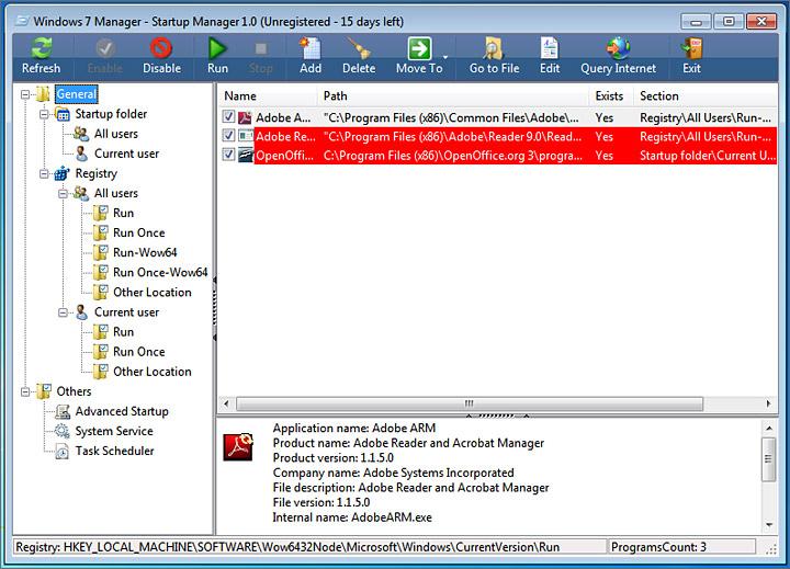 Programmes au démarrage Windows 7 Manager