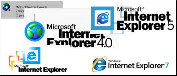 Différents logos d'internet explorer