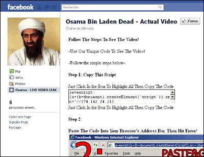 Page Facebook Ben Laden piégée