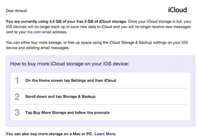 Message iCloud limite 5 Go