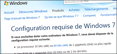 Configuration minimale Windows 7