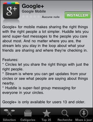 Fiche google plus pour iphone