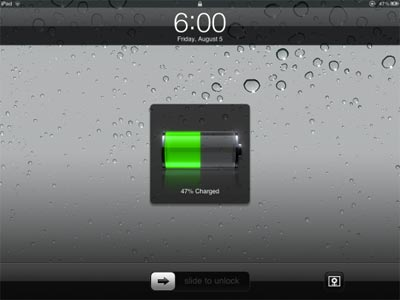 Niveau batterie ecran iPad