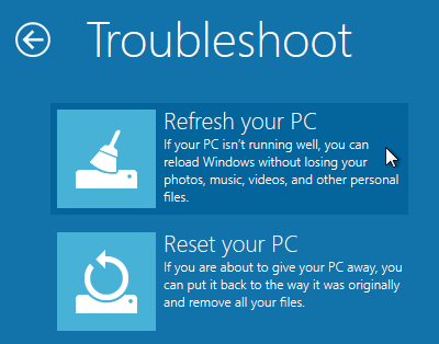 Refresh your PC sur Windows 8