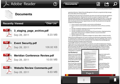 Adobe reader pour iPhone et iPad (iOS)