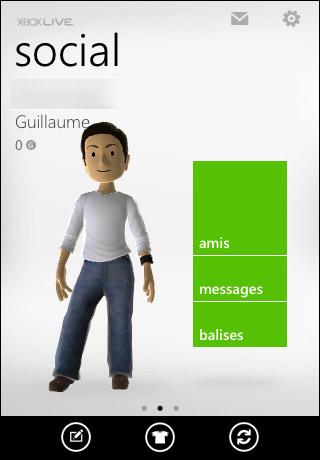 Edition d'avatar dans l'appli My Xbox Live