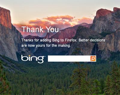 Bing dans Firefox