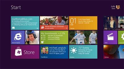 Interface Metro Windows 8