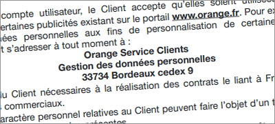 Adresse du service client Orange