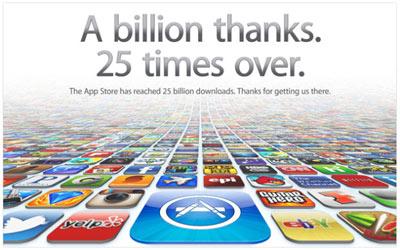 25 milliards d'applications téléchargées sur l'App Store