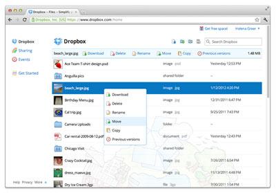 Interface Dropbox