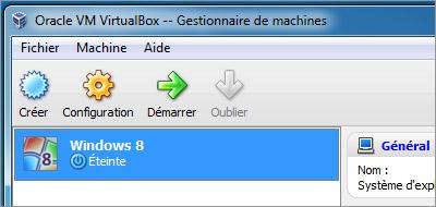 Windows 8 dans Virtualbox