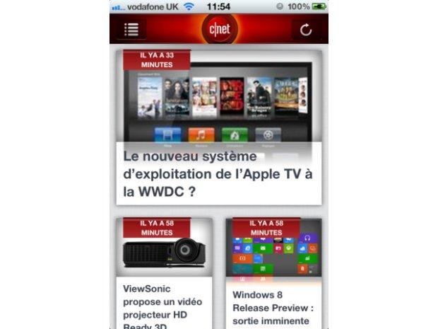 Nouvelles applications iOS et Android pour CNET