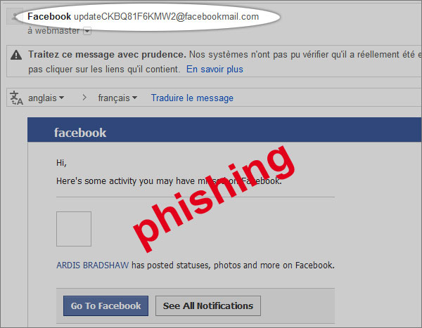 exemple de Phishing Facebook