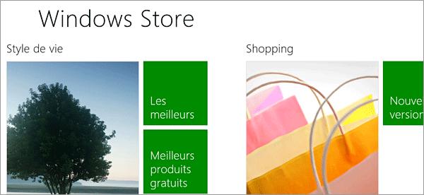 Applications pour le Windows store