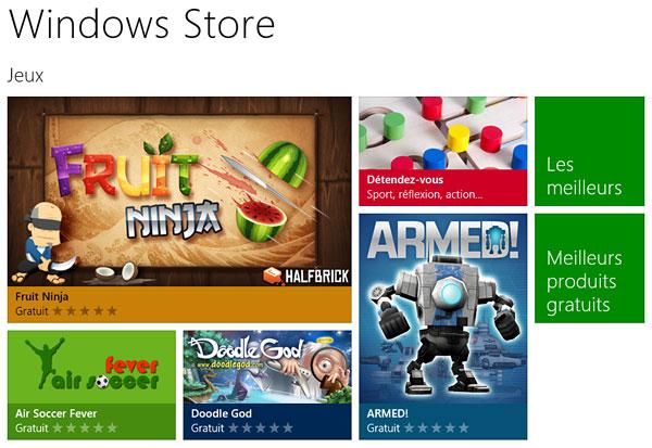 Les jeux dans le Windows Store