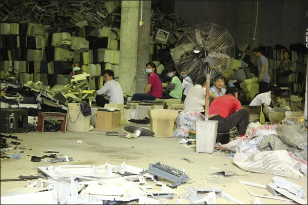 Un atelier de recyclage en Chine