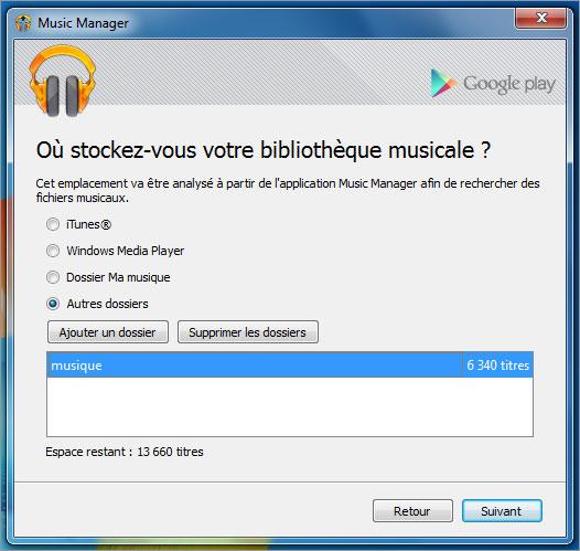 Logiciel d'envoi de musique google