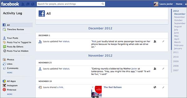 Journal d'activités Facebook