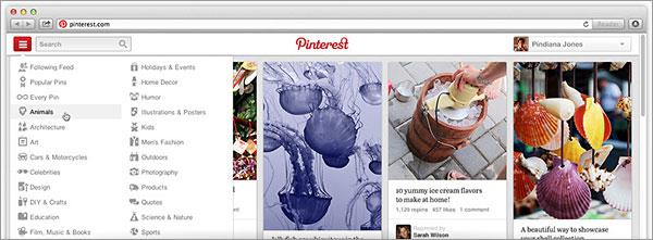 Menu Pinterest